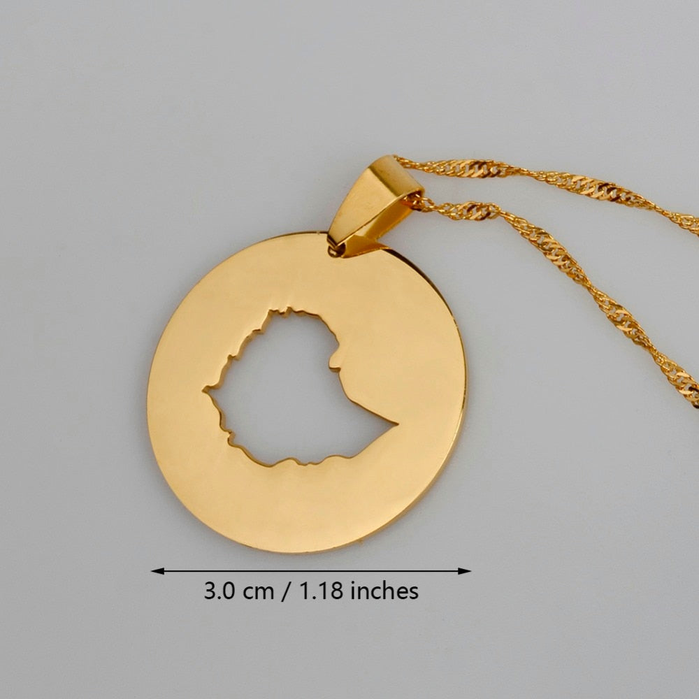Charm Pendant Ethiopian Map Jewelry