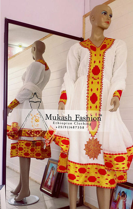 Habesha red golden tilf dress