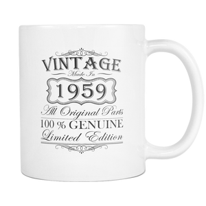 60th Birthday Mug - Gift Ideas - Vintage - Born in 1959 White Coffee Mug