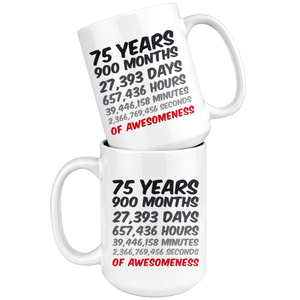 75 Years Birthday or Anniversary Mug