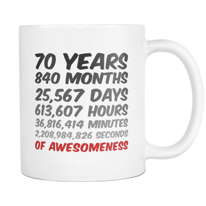 70th Birthday or Anniversary Mug - Perfect Gift Idea