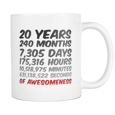 20 Years Birthday or Anniversary Mug