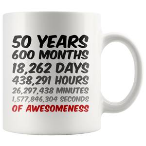 50th Birthday Mug 50 Years of Awesomeness