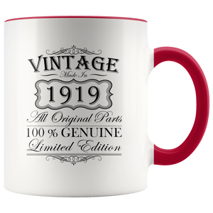 100th Birthday Mug – Gift Ideas - Vintage – Born In 1919 Accent Coffee Mug