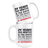 24 Years Birthday or Anniversary Mug