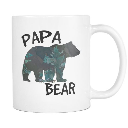 Papa Bear Forest Silhouette Coffee Mugs