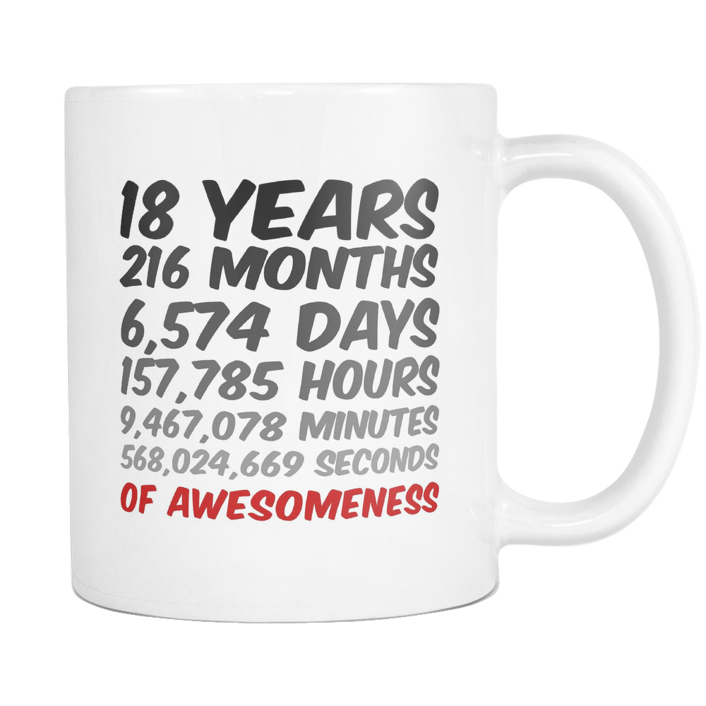 18 Years Birthday or Anniversary Mug