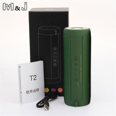 BLUETOOTH & WIRELESS SPEAKERS BLUETOOTH & WIRELESS SPEAKERS China / Green With Box M&J T2 Outdoor Waterproof Super Bass Bluetooth Speaker Mini Portable Wireless Column Loudspeakers Speakers for iPhone Samsung