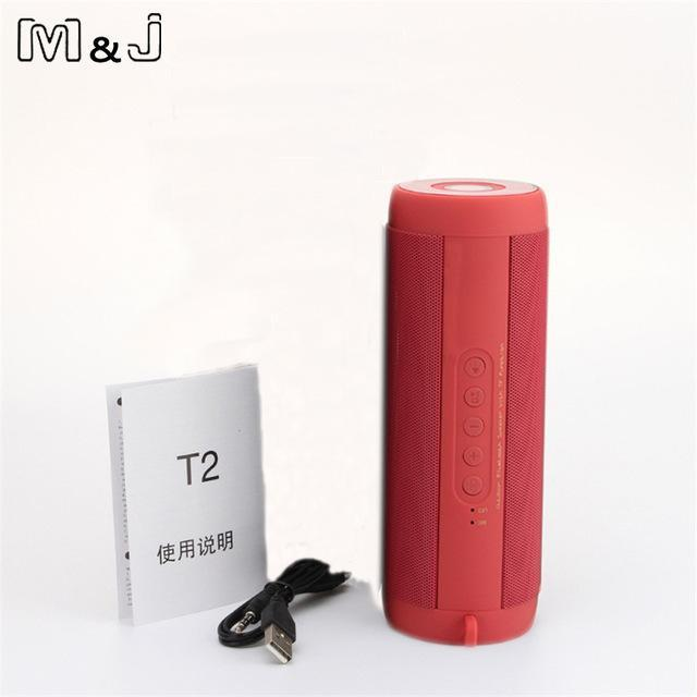 BLUETOOTH & WIRELESS SPEAKERS BLUETOOTH & WIRELESS SPEAKERS China / Red No Box M&J T2 Outdoor Waterproof Super Bass Bluetooth Speaker Mini Portable Wireless Column Loudspeakers Speakers for iPhone Samsung