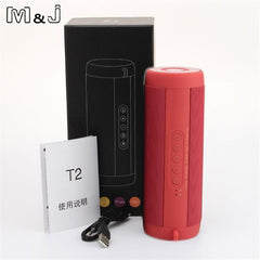 BLUETOOTH & WIRELESS SPEAKERS BLUETOOTH & WIRELESS SPEAKERS China / Red With Box M&J T2 Outdoor Waterproof Super Bass Bluetooth Speaker Mini Portable Wireless Column Loudspeakers Speakers for iPhone Samsung