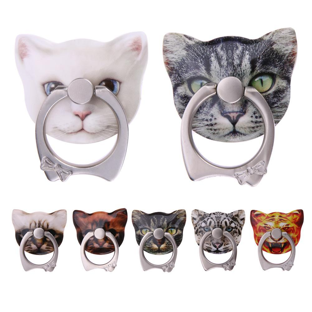 Finger Ring Holder Finger Ring Holder Alloet Cartoon Cat Shape Phone Ring Holder, 360 Roating Finger Ring Mobile Phone Stand Holder for iPhone Samsung Phones
