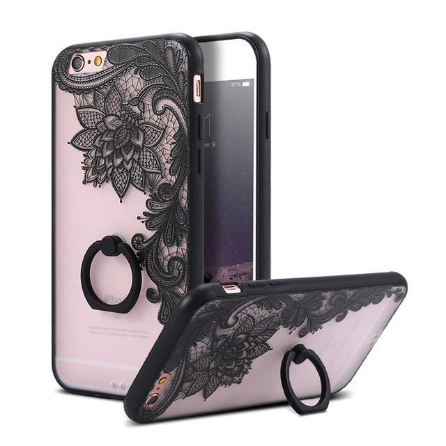 Finger Ring Holder Finger Ring Holder Big Black Flower / China / PC KISSCASE Lace Phone Case for iPhone 6 6S Ring Holder Back Cover Luxury Retro Relief Pattern PC Mobile Phone Accessories Conque