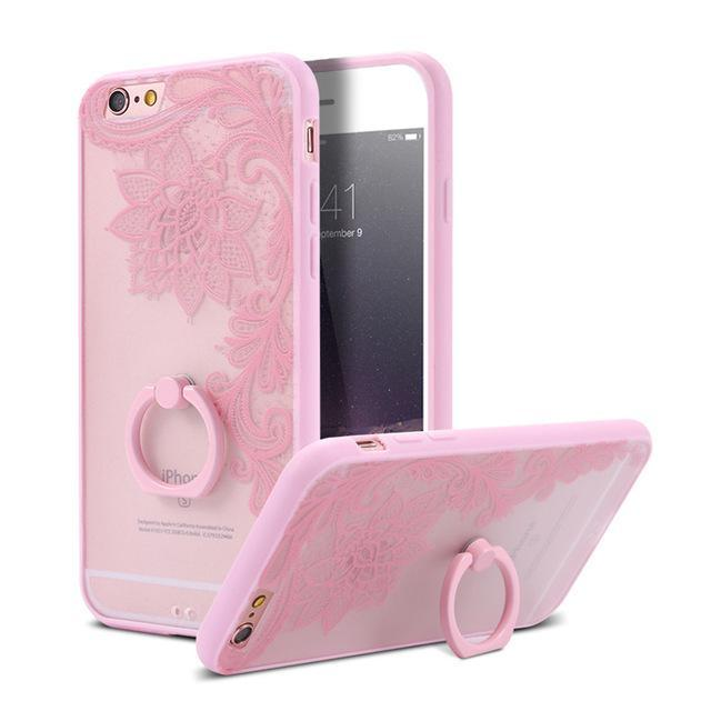 Finger Ring Holder Finger Ring Holder Big Pink Flower / China / PC KISSCASE Lace Phone Case for iPhone 6 6S Ring Holder Back Cover Luxury Retro Relief Pattern PC Mobile Phone Accessories Conque