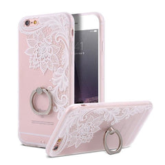 Finger Ring Holder Finger Ring Holder Big White Flower / China / PC KISSCASE Lace Phone Case for iPhone 6 6S Ring Holder Back Cover Luxury Retro Relief Pattern PC Mobile Phone Accessories Conque