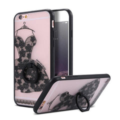 Finger Ring Holder Finger Ring Holder Black Dress / China / PC KISSCASE Lace Phone Case for iPhone 6 6S Ring Holder Back Cover Luxury Retro Relief Pattern PC Mobile Phone Accessories Conque