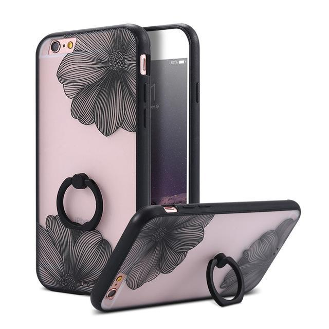Finger Ring Holder Finger Ring Holder Black Flower / China / PC KISSCASE Lace Phone Case for iPhone 6 6S Ring Holder Back Cover Luxury Retro Relief Pattern PC Mobile Phone Accessories Conque