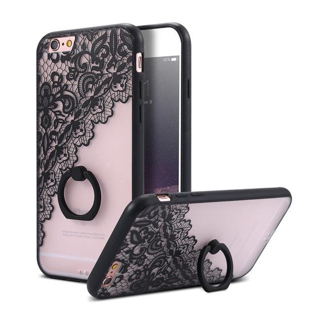 Finger Ring Holder Finger Ring Holder Black Lace Flower / China / PC KISSCASE Lace Phone Case for iPhone 6 6S Ring Holder Back Cover Luxury Retro Relief Pattern PC Mobile Phone Accessories Conque