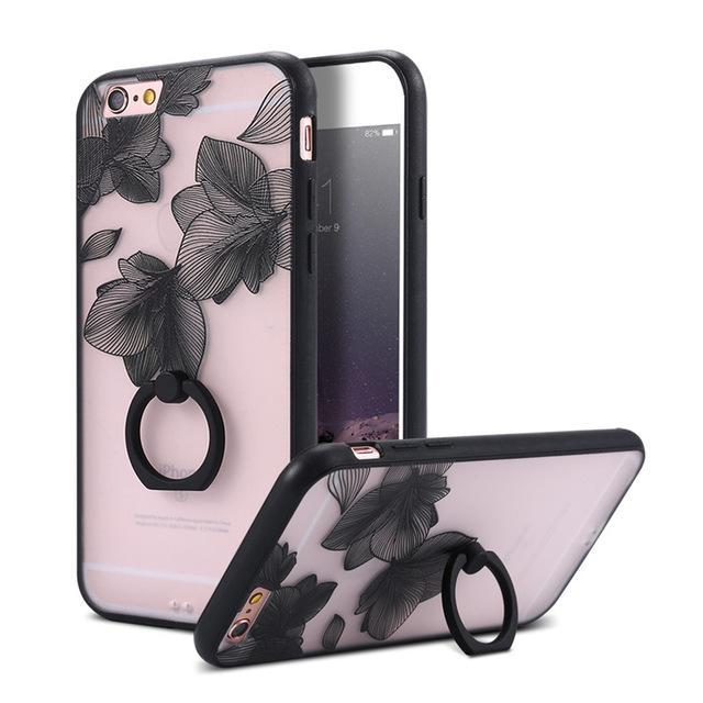 Finger Ring Holder Finger Ring Holder Black Leaves / China / PC KISSCASE Lace Phone Case for iPhone 6 6S Ring Holder Back Cover Luxury Retro Relief Pattern PC Mobile Phone Accessories Conque