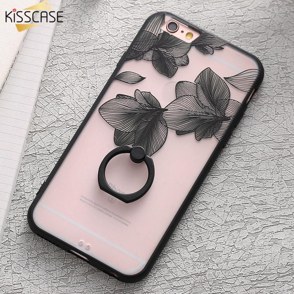 Finger Ring Holder Finger Ring Holder KISSCASE Lace Phone Case for iPhone 6 6S Ring Holder Back Cover Luxury Retro Relief Pattern PC Mobile Phone Accessories Conque