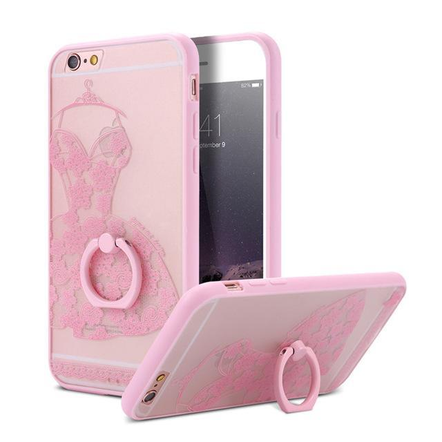 Finger Ring Holder Finger Ring Holder Pink Dress / China / PC KISSCASE Lace Phone Case for iPhone 6 6S Ring Holder Back Cover Luxury Retro Relief Pattern PC Mobile Phone Accessories Conque