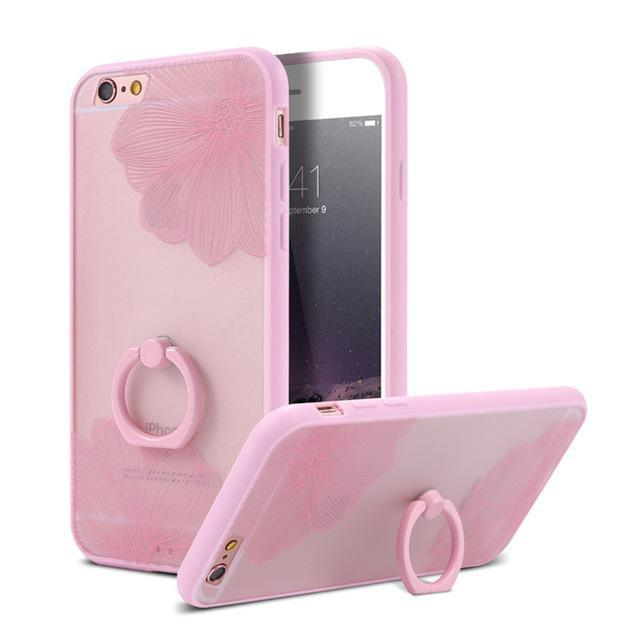 Finger Ring Holder Finger Ring Holder Pink Flowers / China / PC KISSCASE Lace Phone Case for iPhone 6 6S Ring Holder Back Cover Luxury Retro Relief Pattern PC Mobile Phone Accessories Conque