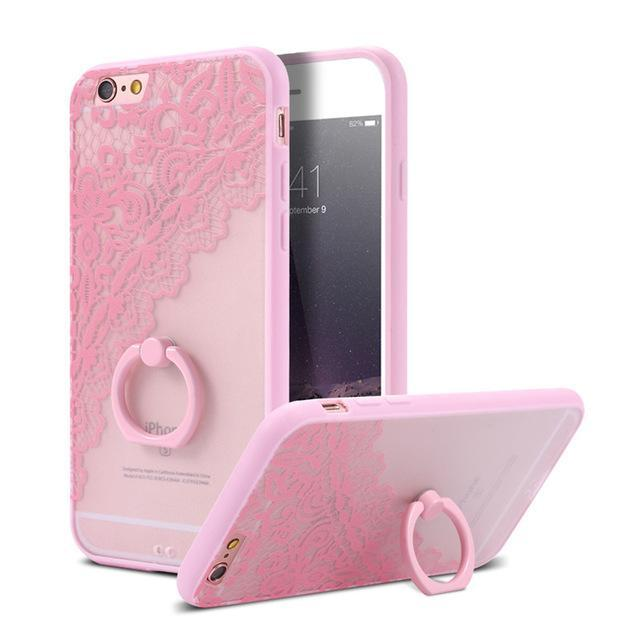 Finger Ring Holder Finger Ring Holder Pink Lace Flower / China / PC KISSCASE Lace Phone Case for iPhone 6 6S Ring Holder Back Cover Luxury Retro Relief Pattern PC Mobile Phone Accessories Conque