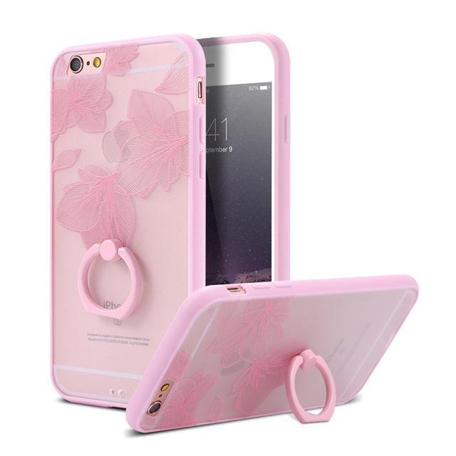 Finger Ring Holder Finger Ring Holder Pink Leaves / China / PC KISSCASE Lace Phone Case for iPhone 6 6S Ring Holder Back Cover Luxury Retro Relief Pattern PC Mobile Phone Accessories Conque