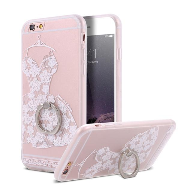 Finger Ring Holder Finger Ring Holder White Dress / China / PC KISSCASE Lace Phone Case for iPhone 6 6S Ring Holder Back Cover Luxury Retro Relief Pattern PC Mobile Phone Accessories Conque