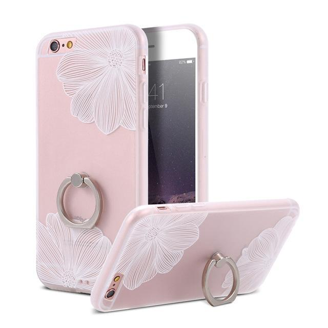 Finger Ring Holder Finger Ring Holder White Flowers / China / PC KISSCASE Lace Phone Case for iPhone 6 6S Ring Holder Back Cover Luxury Retro Relief Pattern PC Mobile Phone Accessories Conque