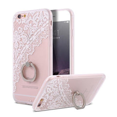 Finger Ring Holder Finger Ring Holder White Lace Flower / China / PC KISSCASE Lace Phone Case for iPhone 6 6S Ring Holder Back Cover Luxury Retro Relief Pattern PC Mobile Phone Accessories Conque