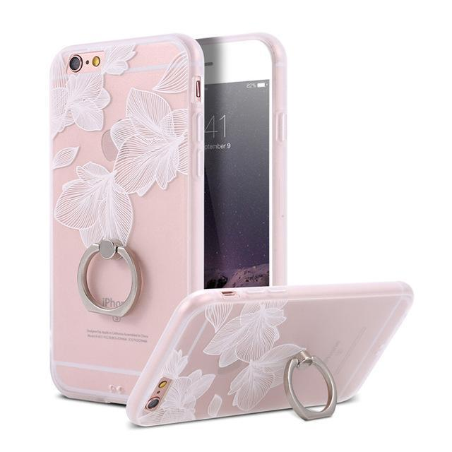 Finger Ring Holder Finger Ring Holder White Leaves / China / PC KISSCASE Lace Phone Case for iPhone 6 6S Ring Holder Back Cover Luxury Retro Relief Pattern PC Mobile Phone Accessories Conque