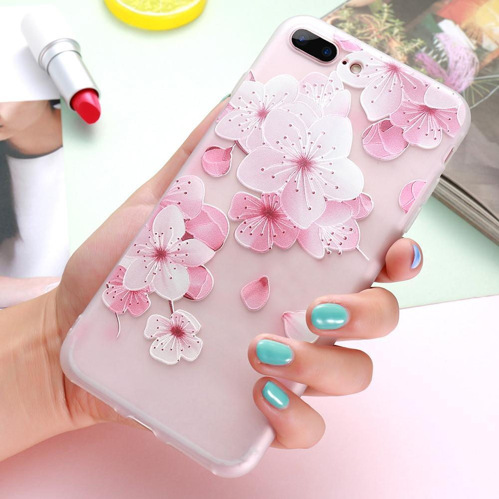 Phone Accessories Case 3D Flower Cases Silicon Phone Cover For iPhone 8 7 6 6S Case Accessories