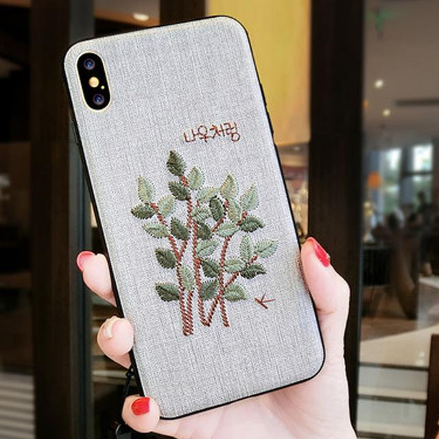 Phone Accessories Case 4 / PC + TPU Embroidery 3d case for iphone x 10 silicone