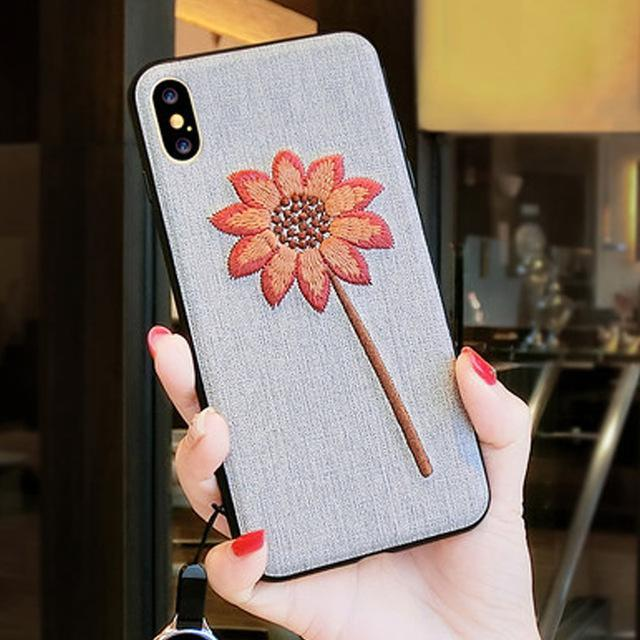 Phone Accessories Case 5 / PC + TPU Embroidery 3d case for iphone x 10 silicone