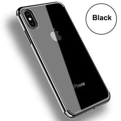 Phone Accessories Case Black / For iPhone X Transparent Silicon Phone Cases Electroplating For iPhone 7 plus
