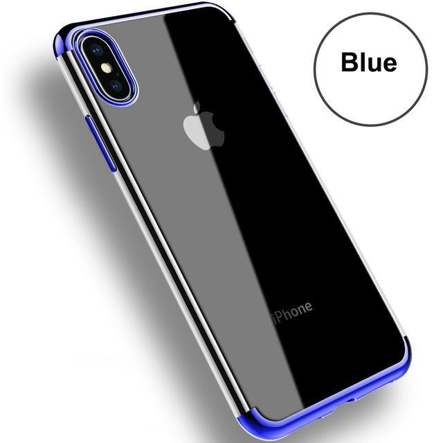 Phone Accessories Case Blue / For iPhone X Transparent Silicon Phone Cases Electroplating For iPhone 7 plus