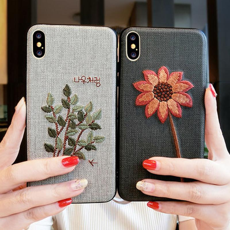 Phone Accessories Case Embroidery 3d case for iphone x 10 silicone