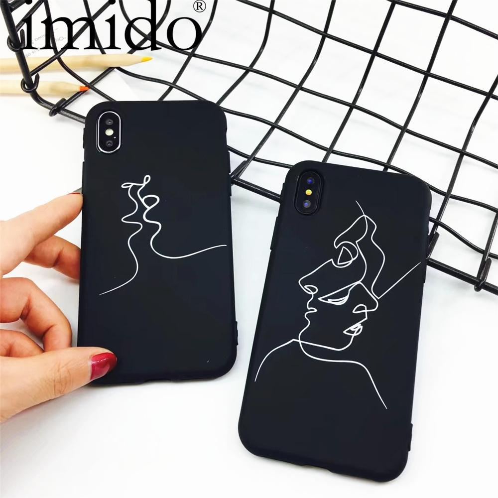 Phone Accessories Case Fashion Abstract Line Face Soft Phone Cases For iphone x,7,iphone 5 SE 6 6S