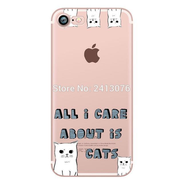 Phone Accessories Case pattern 2 / For iphone 7 Phone cases Animals cats and dogs duck Clear soft silicon For iphone 7 6 6S 8 plus 5S SE X