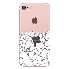 Phone Accessories Case pattern 3 / For iphone 7 Phone cases Animals cats and dogs duck Clear soft silicon For iphone 7 6 6S 8 plus 5S SE X