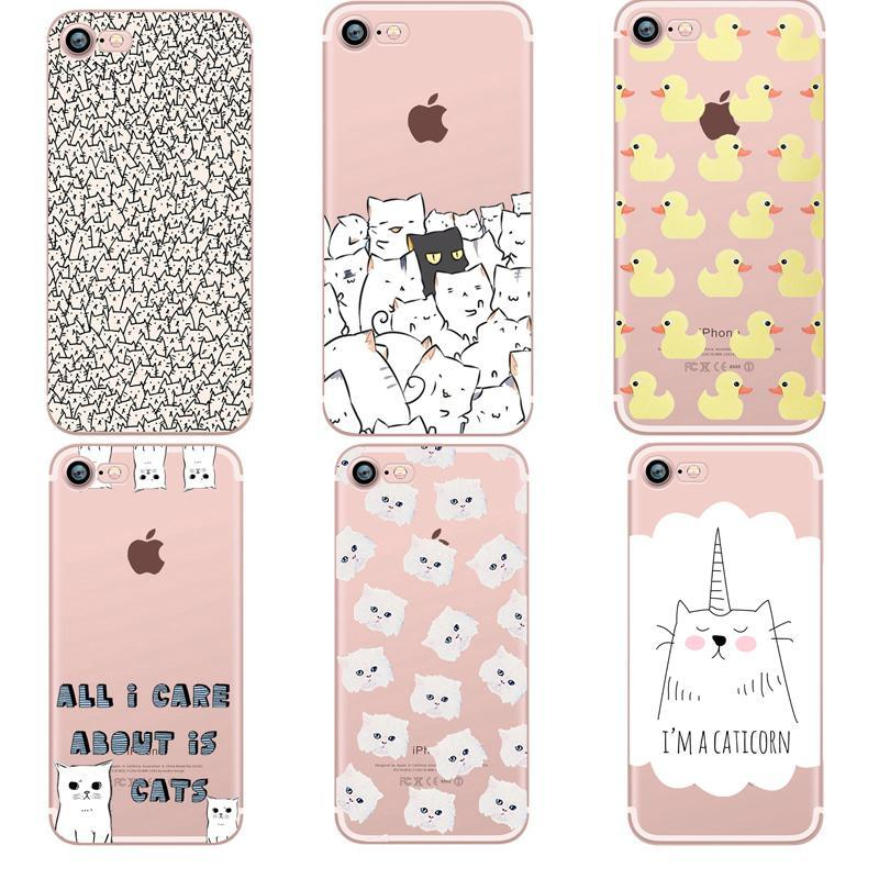 Phone Accessories Case Phone cases Animals cats and dogs duck Clear soft silicon For iphone 7 6 6S 8 plus 5S SE X