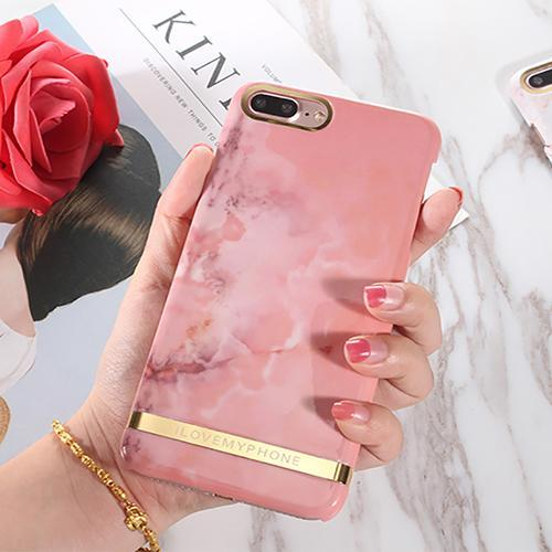 Phone Accessories Case Pink / For iPhone 6Plus 6SP Glossy Marble Phone Case For iPhone 6  Fashion Gold Bar Classical Marbles