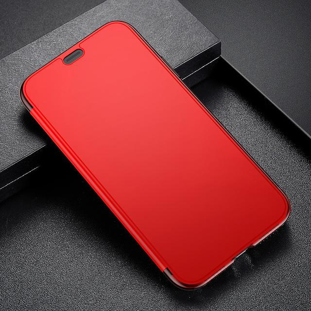 Phone Accessories Case Red / For iPhone X Slim Flip Case For iPhone X  Full Screen Protector Window Cover Shells