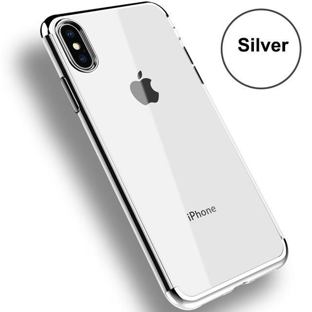 Phone Accessories Case Silver / For iPhone X Transparent Silicon Phone Cases Electroplating For iPhone 7 plus