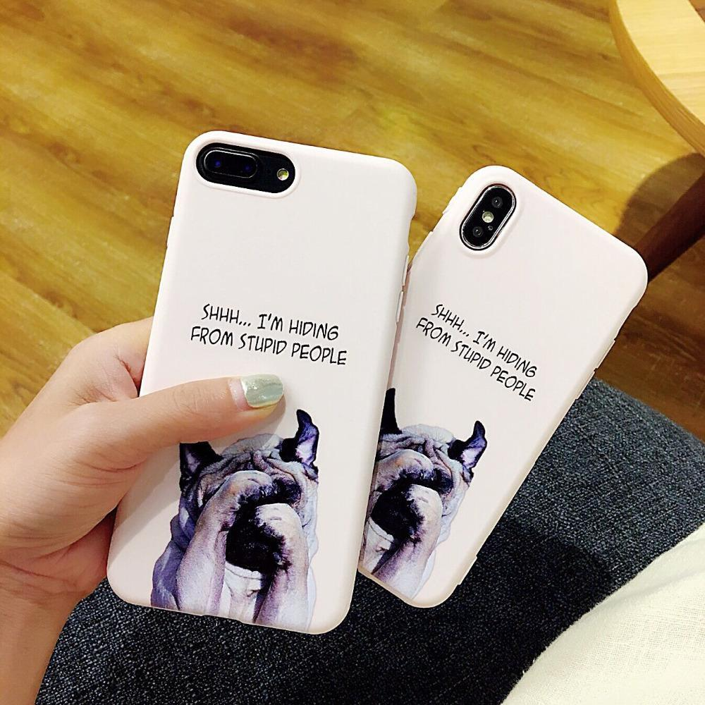 Phone Accessories Case Super Cute Phone Cases for Apple iPhone 8 Case Fashion IMD soft shell Funny  Dog Back Covers