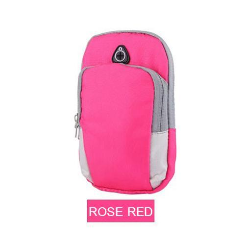 Phone Accessories Lux Armbands Rose red Sports Running Armband Bag Case Cover Running armband Universal Waterproof Sport mobile phone Holder Outdoor Sport Phone Arm pou