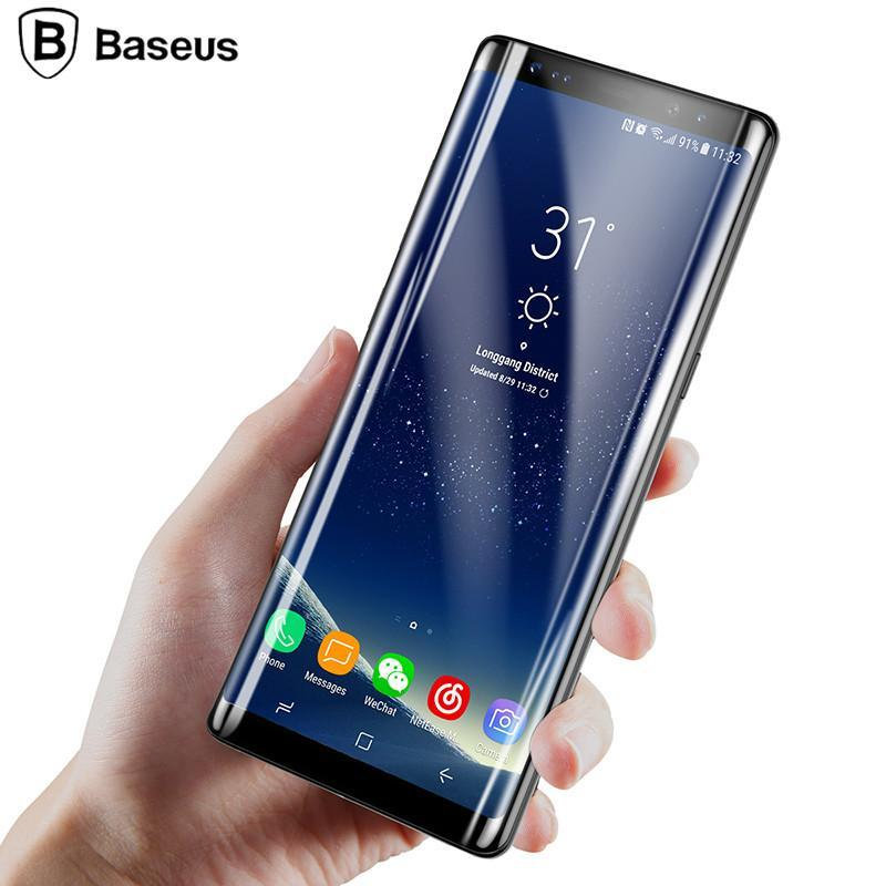 Phone Accessories Lux Baseus 3D Edge Screen Protector For Samsung Note 8 Tempered Glass Protective Film For Galaxy Note8 Full Screen 3D ARC Glass Film