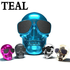 Phone Accessories Lux BLUETOOTH & WIRELESS SPEAKERS TEAL Skull Bluetooth Speaker Wireless Compact Skull Head Portable speaker 8W NFC Audio Rechargeable Battery Music Player