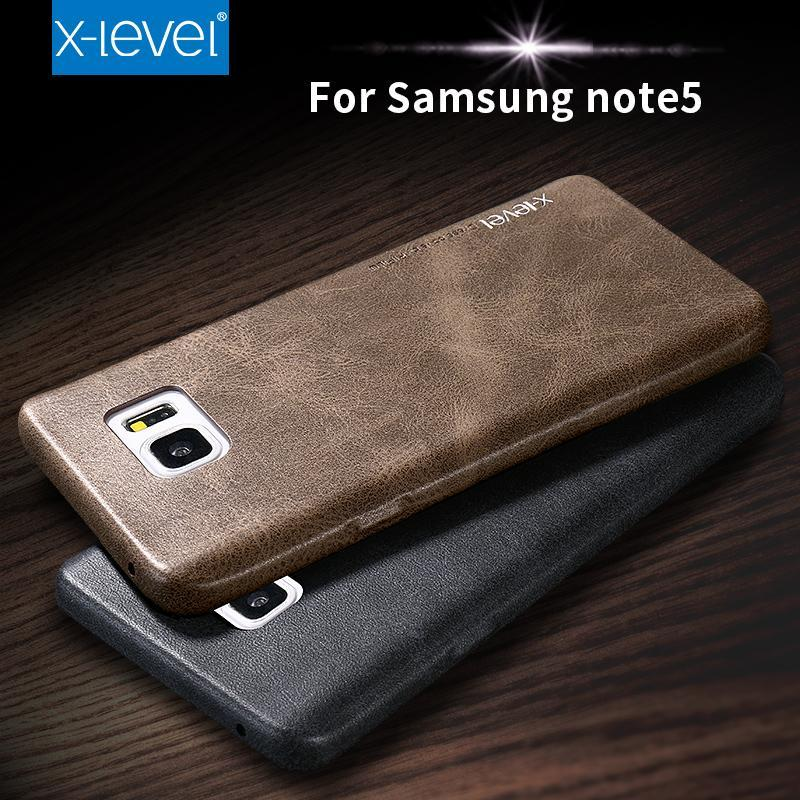 Phone Accessories Lux CASE Galaxy note 5 X-Level For Samsung Galaxy note 5 note5  luxury Business PU Leather Phone Case Retro Ultra thin Protective Cover vintage cases