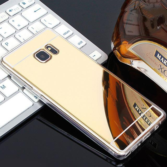 Phone Accessories Lux case Galaxy s7 Gold / For Samsung S7 Luxury Plating Mirror Case For Samsung Galaxy S7-S6 Edge-S5-S8-J5-J3 J7